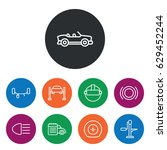 set of 9 auto outline icons... | Shutterstock .eps vector #629452244