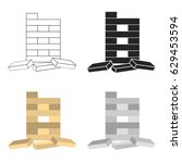 jenga icon in cartoon style... | Shutterstock .eps vector #629453594