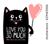 kawaii black cat with pink... | Shutterstock .eps vector #629465006