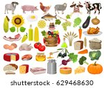 set of cartoon food and farm... | Shutterstock .eps vector #629468630