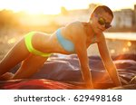 sport girl in bikini on the... | Shutterstock . vector #629498168