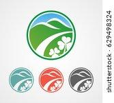 mountain and clover logo icon | Shutterstock .eps vector #629498324