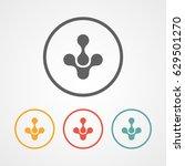 down molecular arrow logo icon...
