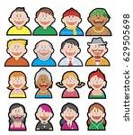 vector set of funny avatars for ...   Shutterstock .eps vector #629505698