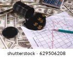 a barrel of oil on dollars with ...   Shutterstock . vector #629506208