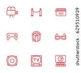 set of 9 pleasure outline icons ... | Shutterstock .eps vector #629510939