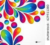 colorful striped drops splash... | Shutterstock .eps vector #629511380