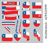 set of chile maps  flags ... | Shutterstock .eps vector #629523599