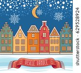 snowflakes  moon  houses  the... | Shutterstock .eps vector #629528924
