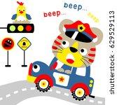 Stock vector tiger the traffic police on patrol vector cartoon 629529113