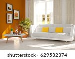 white modern room with sofa.... | Shutterstock . vector #629532374