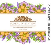 invitation with floral... | Shutterstock .eps vector #629538140