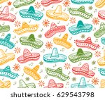 colorful mexican seamless... | Shutterstock .eps vector #629543798
