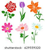 set of decorative flower... | Shutterstock .eps vector #629559320