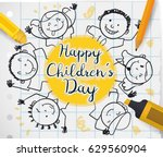 Poster with school supplies, notebook paper and cute children drawing around greeting label to celebrate Children's Day. | Shutterstock vector #629560904