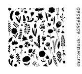floral background  sketch for... | Shutterstock .eps vector #629568260