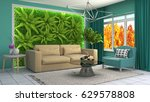 interior living room. 3d... | Shutterstock . vector #629578808