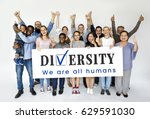 group of diversity people with... | Shutterstock . vector #629591030