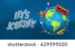 lets journey. vector logo with... | Shutterstock .eps vector #629595020