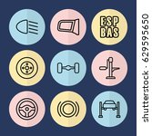 set of 9 auto outline icons... | Shutterstock .eps vector #629595650