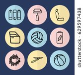 set of 9 painting outline icons ... | Shutterstock .eps vector #629597438
