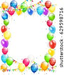 birthday theme  frame of flying ... | Shutterstock .eps vector #629598716