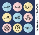 set of 9 speed outline icons... | Shutterstock .eps vector #629600438