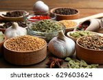 set of different spices on a... | Shutterstock . vector #629603624