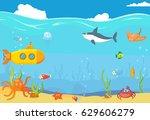 sea underwater blue landscape.... | Shutterstock .eps vector #629606279