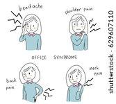 set of cute woman suffering... | Shutterstock .eps vector #629607110
