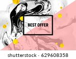 sale poster. black and white... | Shutterstock .eps vector #629608358