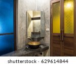 vintage brass wash basin and... | Shutterstock . vector #629614844