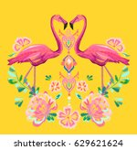 beautiful embroidery tropical... | Shutterstock .eps vector #629621624