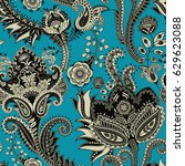 seamless pattern. indian floral ...   Shutterstock . vector #629623088