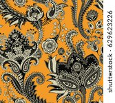 seamless pattern. indian floral ... | Shutterstock . vector #629623226