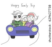 concept of happy family trip.... | Shutterstock .eps vector #629627738