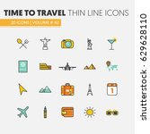 travel vacations linear thin... | Shutterstock .eps vector #629628110