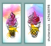 watercolor ice cream | Shutterstock .eps vector #629638598