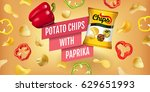potato chips ads. vector... | Shutterstock .eps vector #629651993