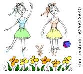 Illustrations Of Girls Ballet...