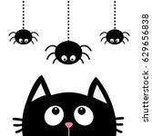 black cat face head silhouette... | Shutterstock . vector #629656838