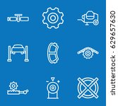 set of 9 machine outline icons... | Shutterstock .eps vector #629657630