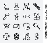 safety icon. set of 16 safety... | Shutterstock .eps vector #629657708