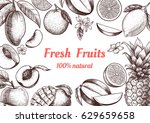 vector frame with fruits and... | Shutterstock .eps vector #629659658