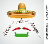 mexican sombrero with chili on...   Shutterstock .eps vector #629659994