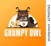 grumpy owl   coffee shop logo...   Shutterstock .eps vector #629660363