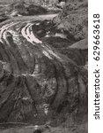 wheel tracks on the soil. | Shutterstock . vector #629663618