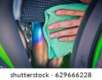 hand with man cleaning... | Shutterstock . vector #629666228