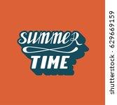 hand written lettering summer... | Shutterstock .eps vector #629669159
