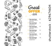 fast food vector hand drawn... | Shutterstock .eps vector #629674604